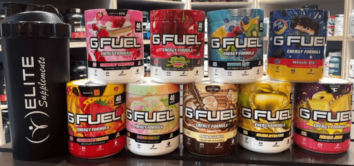 A sets of GFuel energy drinks aligned in a decorative way