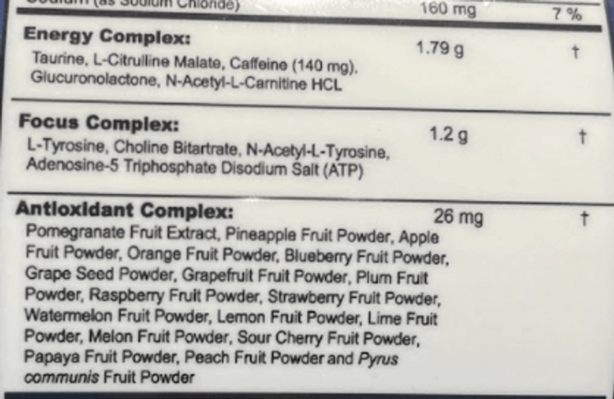 G Fuel energy drinks powder ingredients at the back of the tub