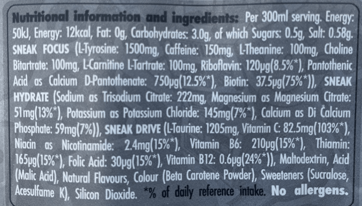 The nutrient value of Sneak at the back of the packet
