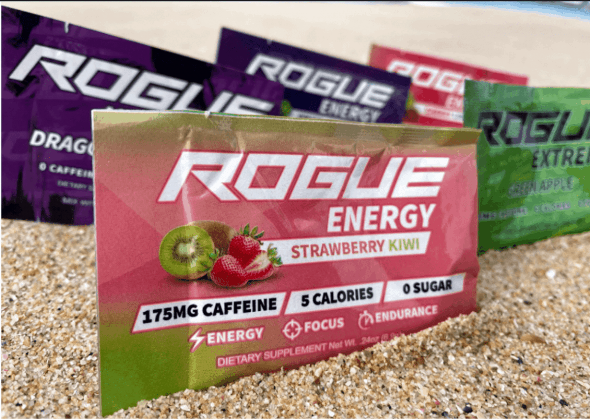 Rogue energy drink sachets.