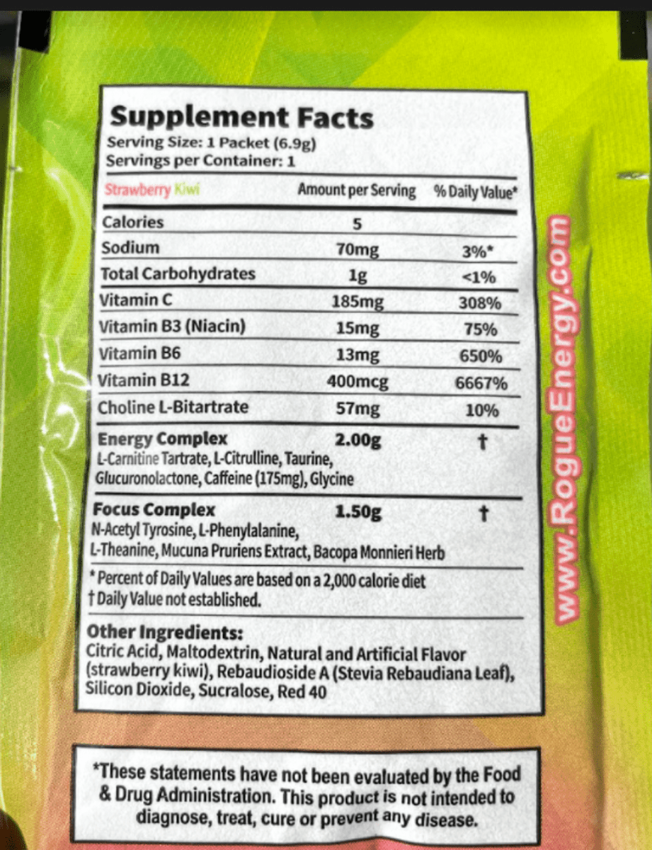Nutritional value of Rogue Energy at the back of the packet