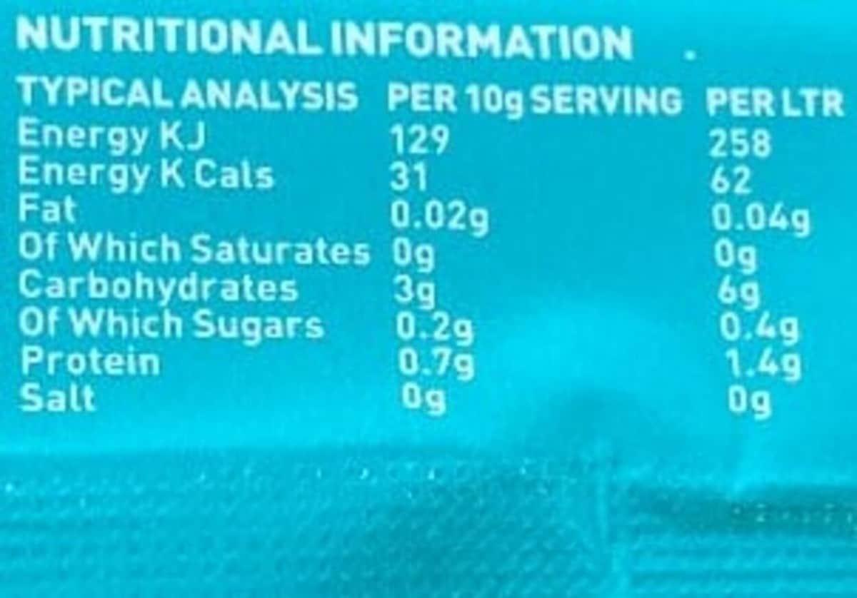 nutrition label for X-Gamer