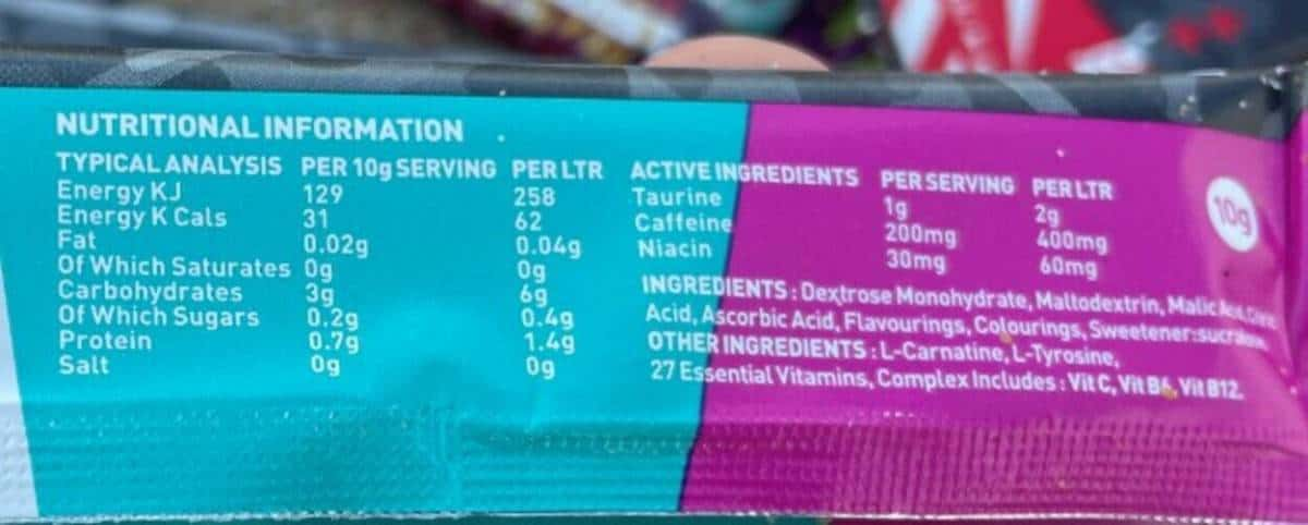 X-Gamer nutritional information at the back of the sachet