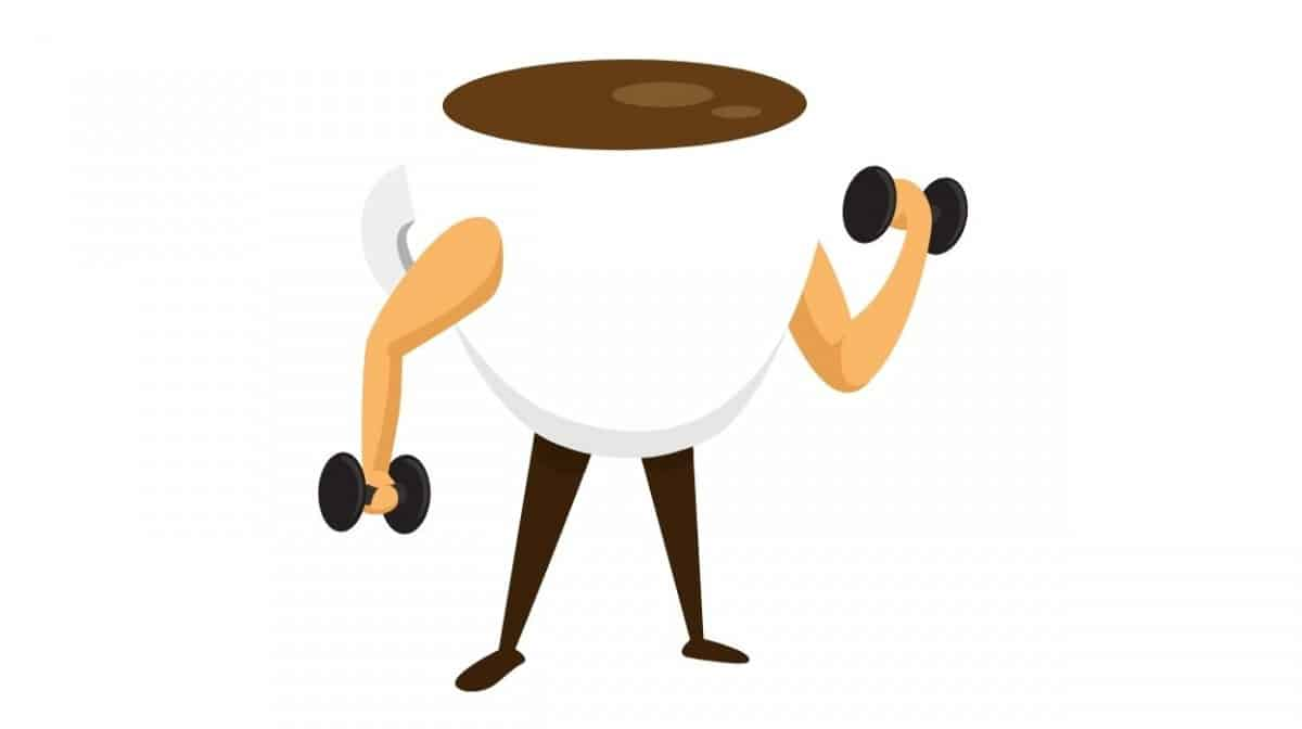 Anthropomorphized coffee cup lifting dumbbells