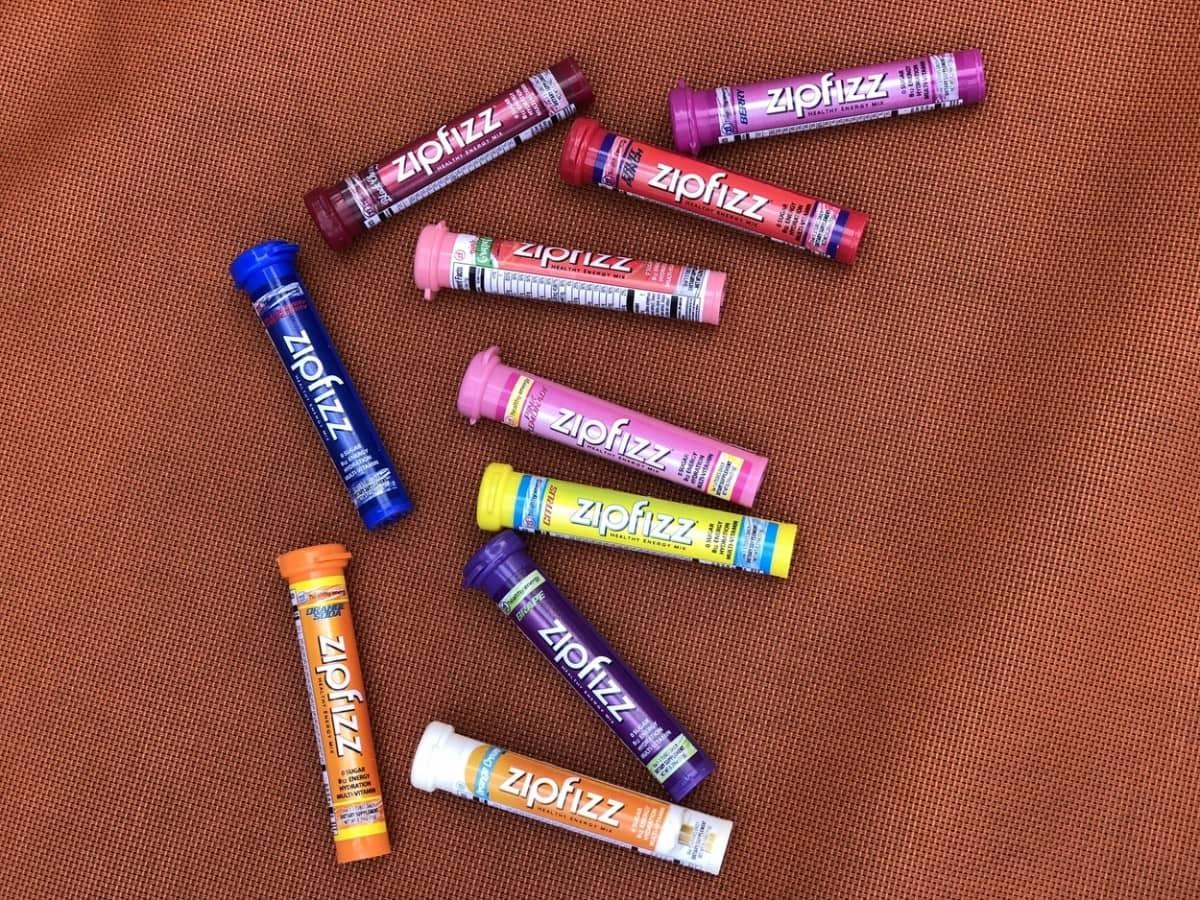 Ten tubes of different flavors of Zipfizz