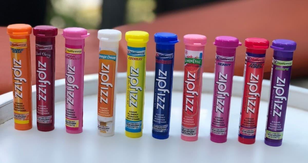 Tubs of Zipfizz Energy Drink Mix.