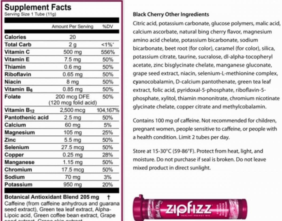 Zipfizz Energy nutrition facts.
