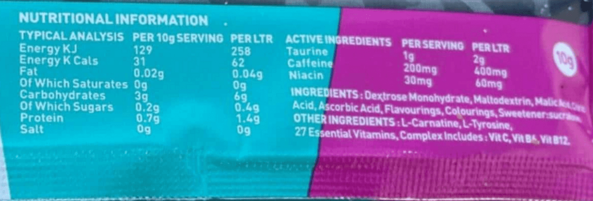 Rogue Energy Drink nutrition facts.