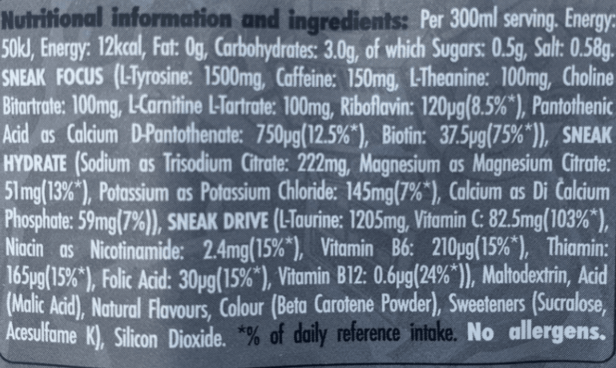 Sneak Energy Drink nutrition facts.