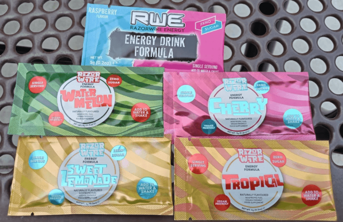Five sachet of Razorwire Energy.