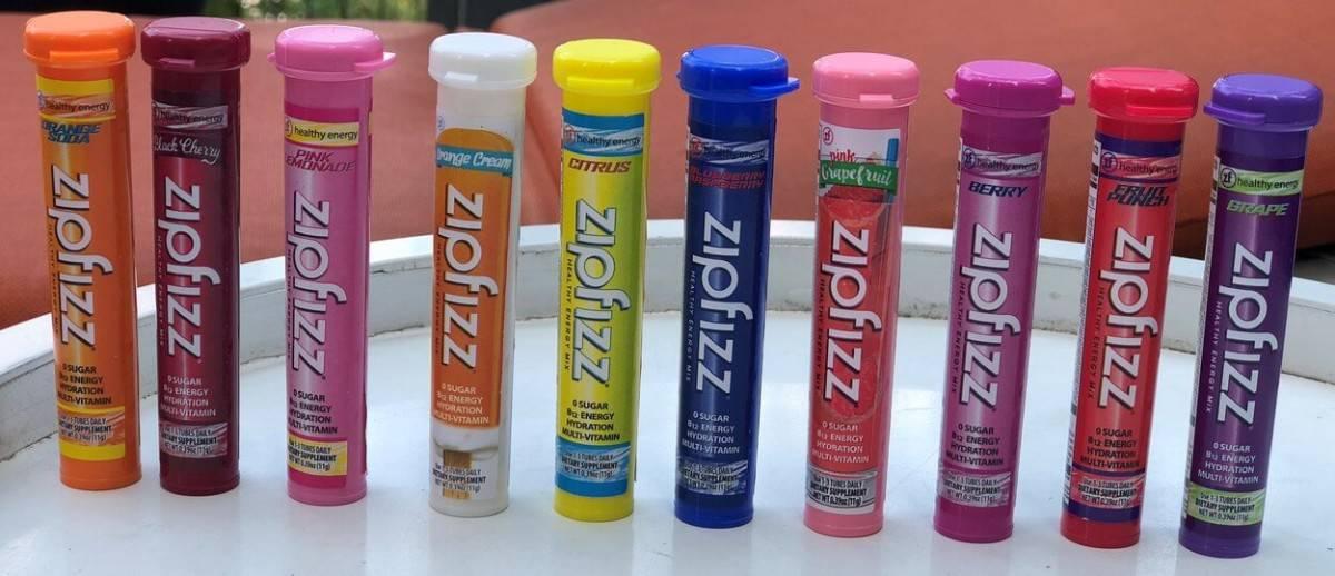Ten tubes of different flavors of Zipfizz.