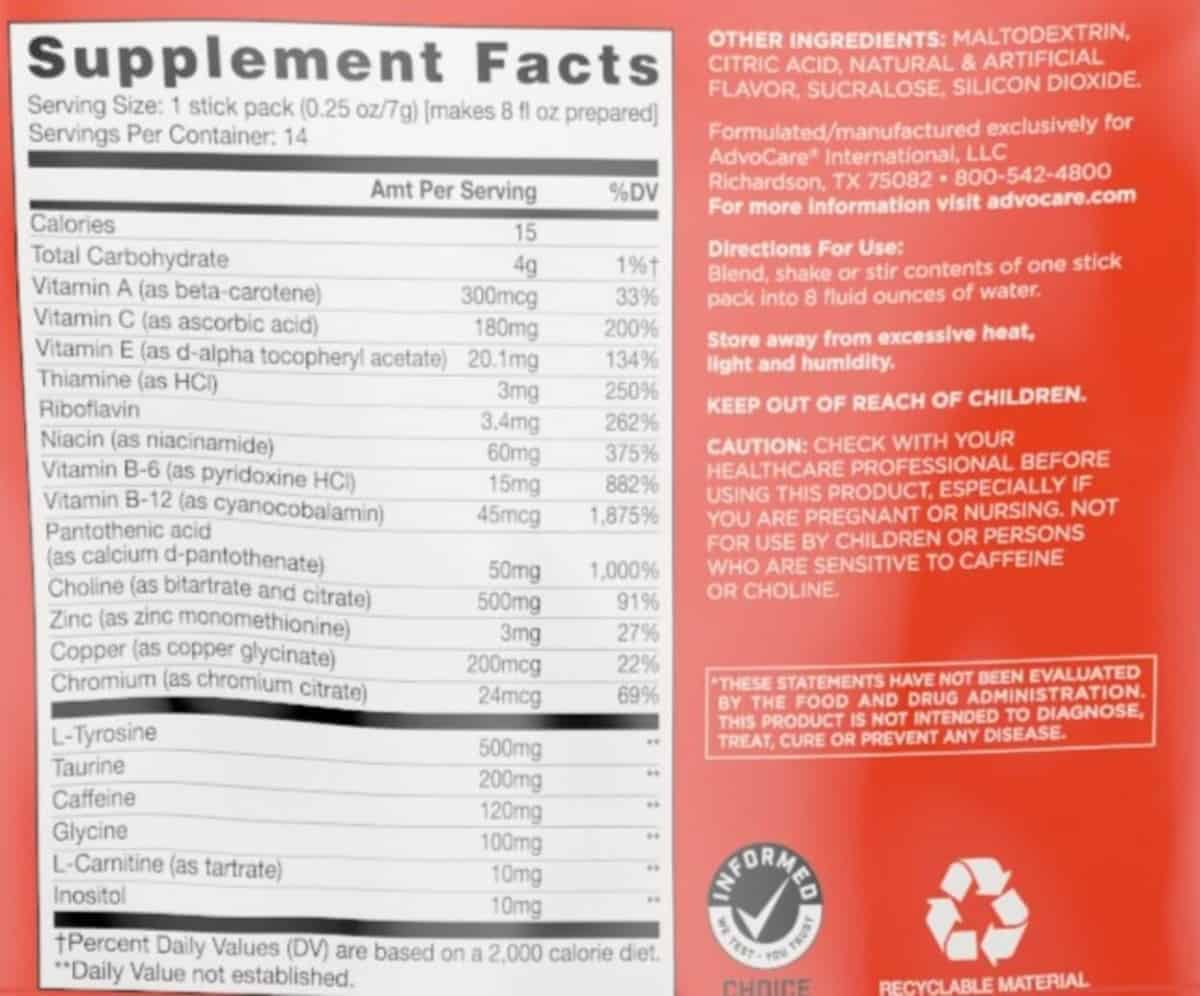 Advocare Spark Energy nutrition facts at the back of the sachets.