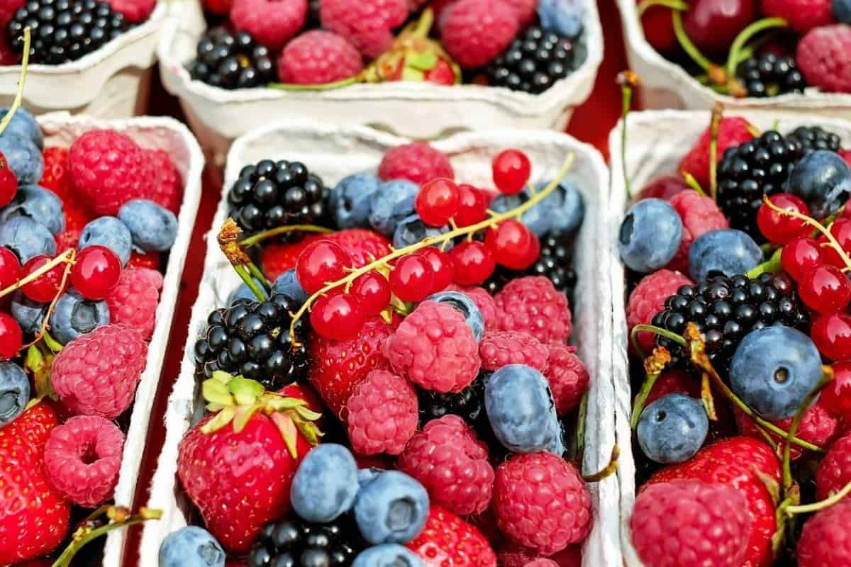 Three piles of different berries