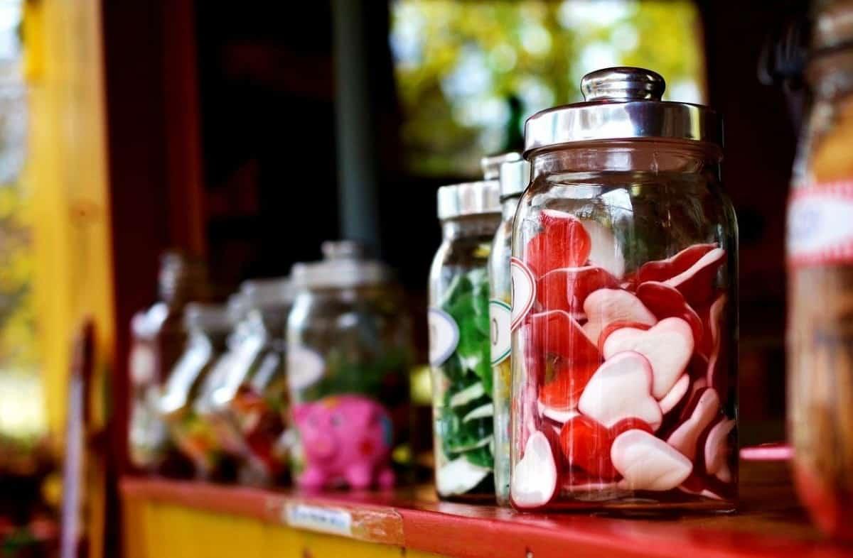 Heart candies in a jar.