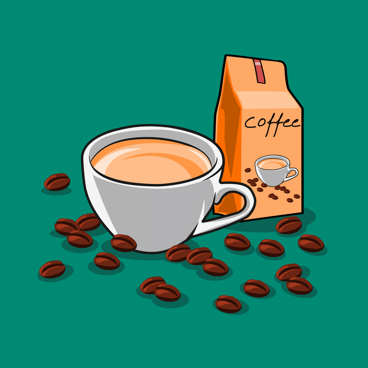 Coffee beans with a cup of coffee.