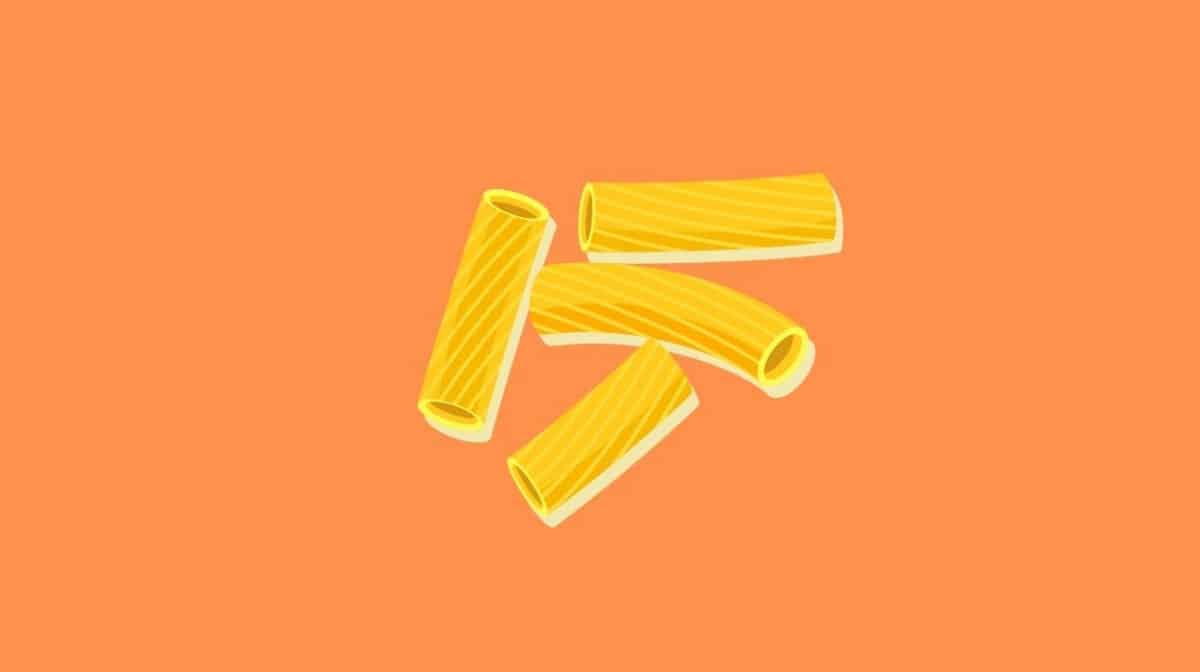 Illustration of four pieces of pasta