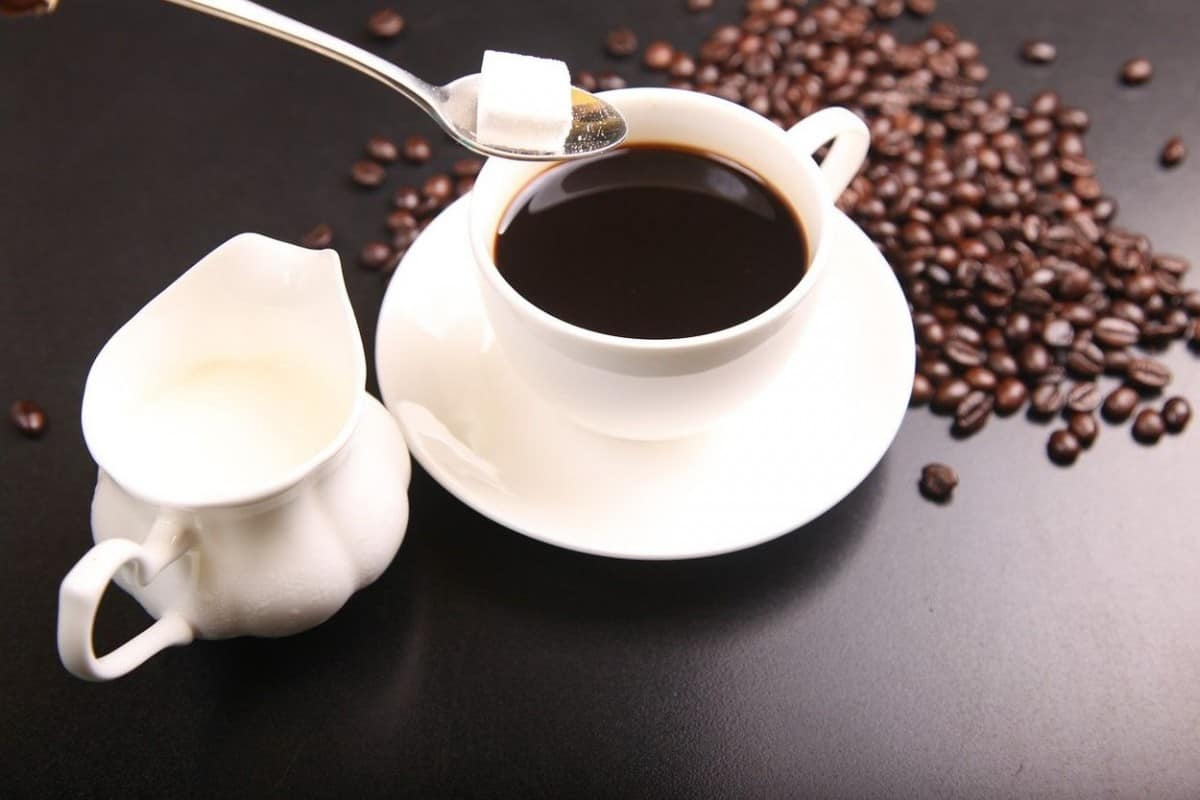 Black coffee in a white cup.
