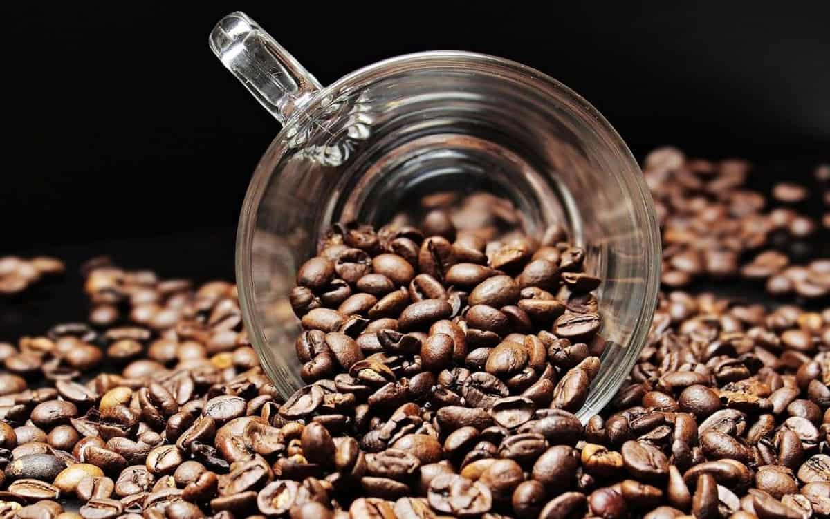 Coffee beans with crystal glass.