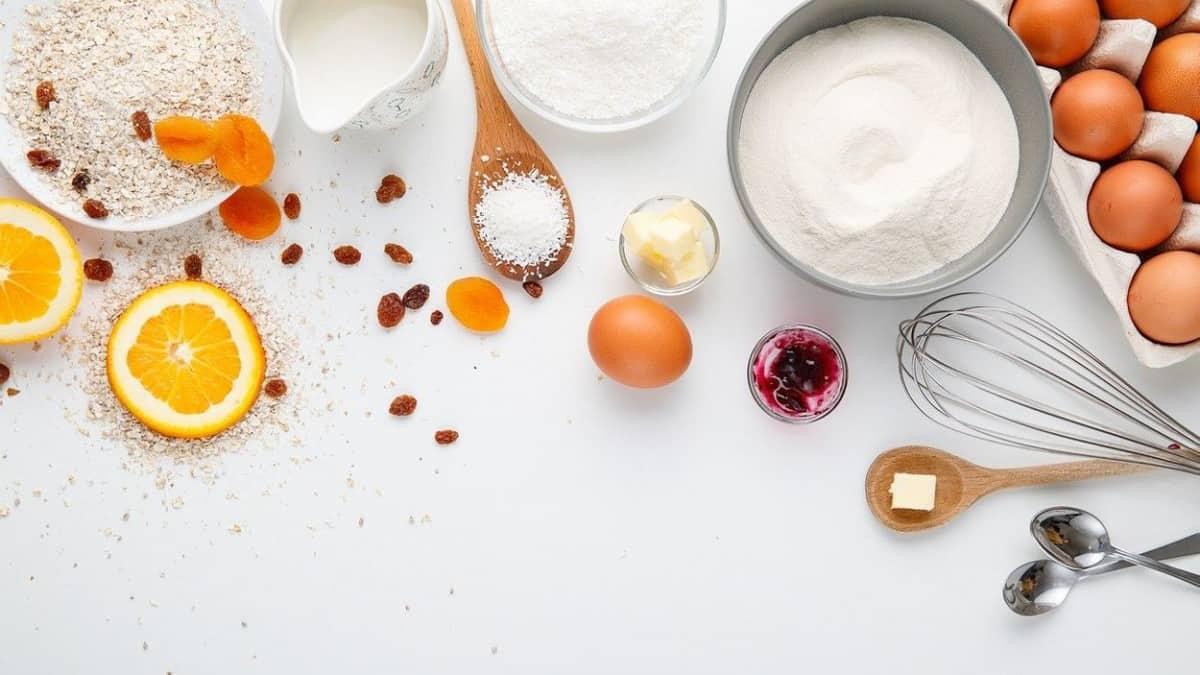Cooking ingredients including sugar.