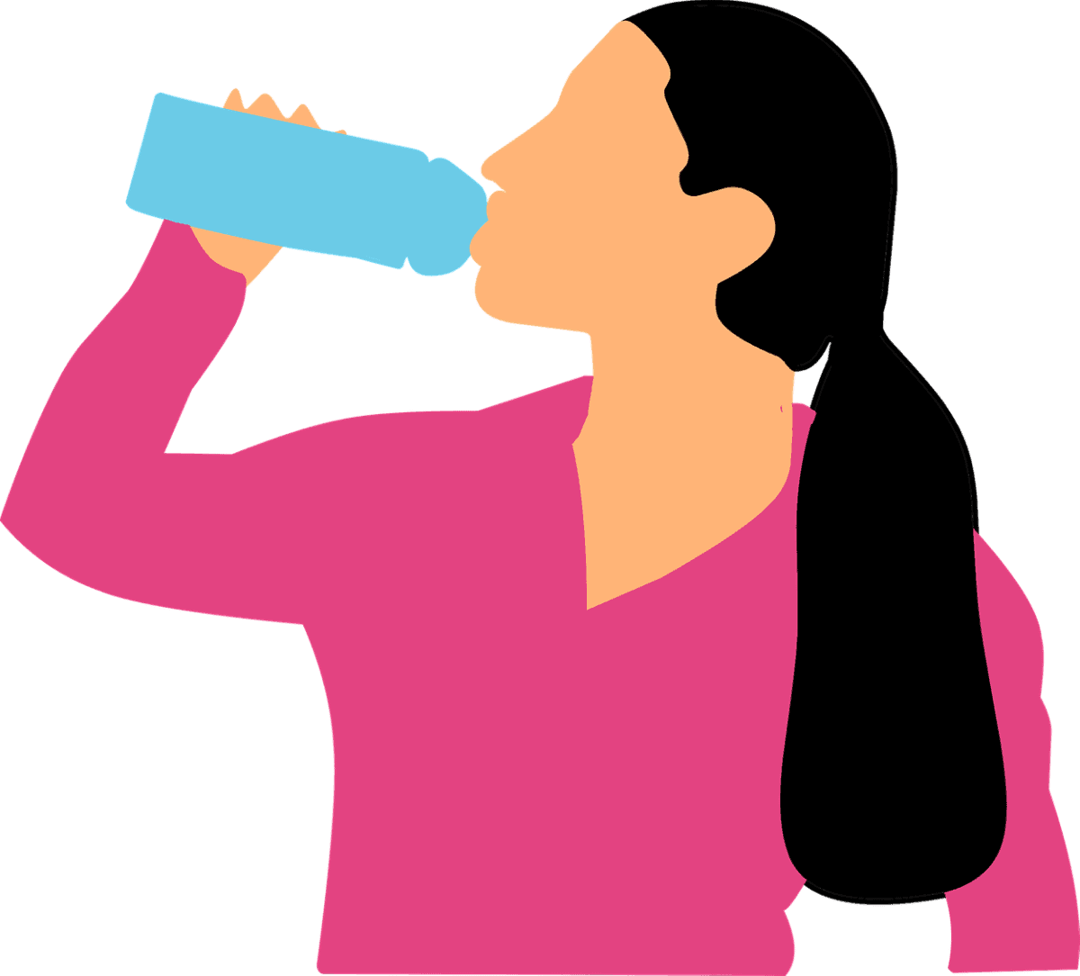 A girl drinking water.