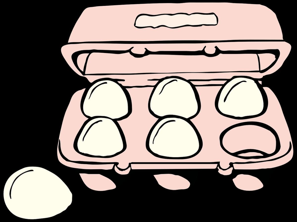 Eggs are in a carton.