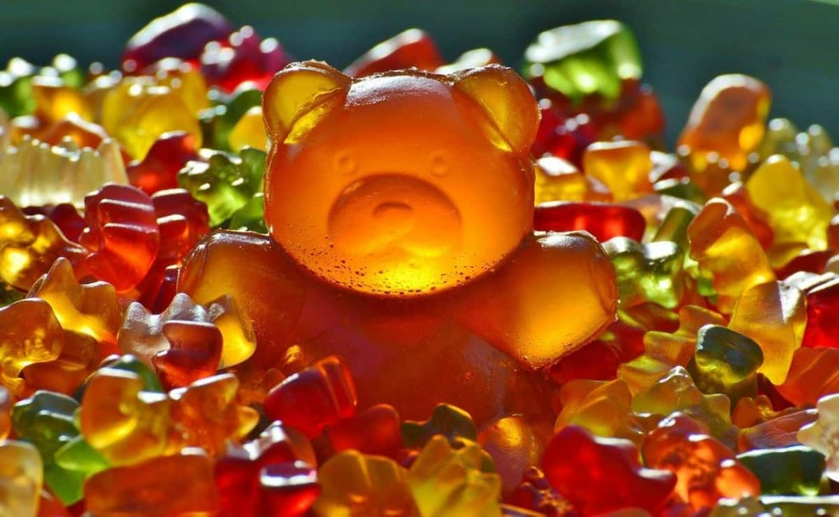 Giant colorful gummy bear candies.