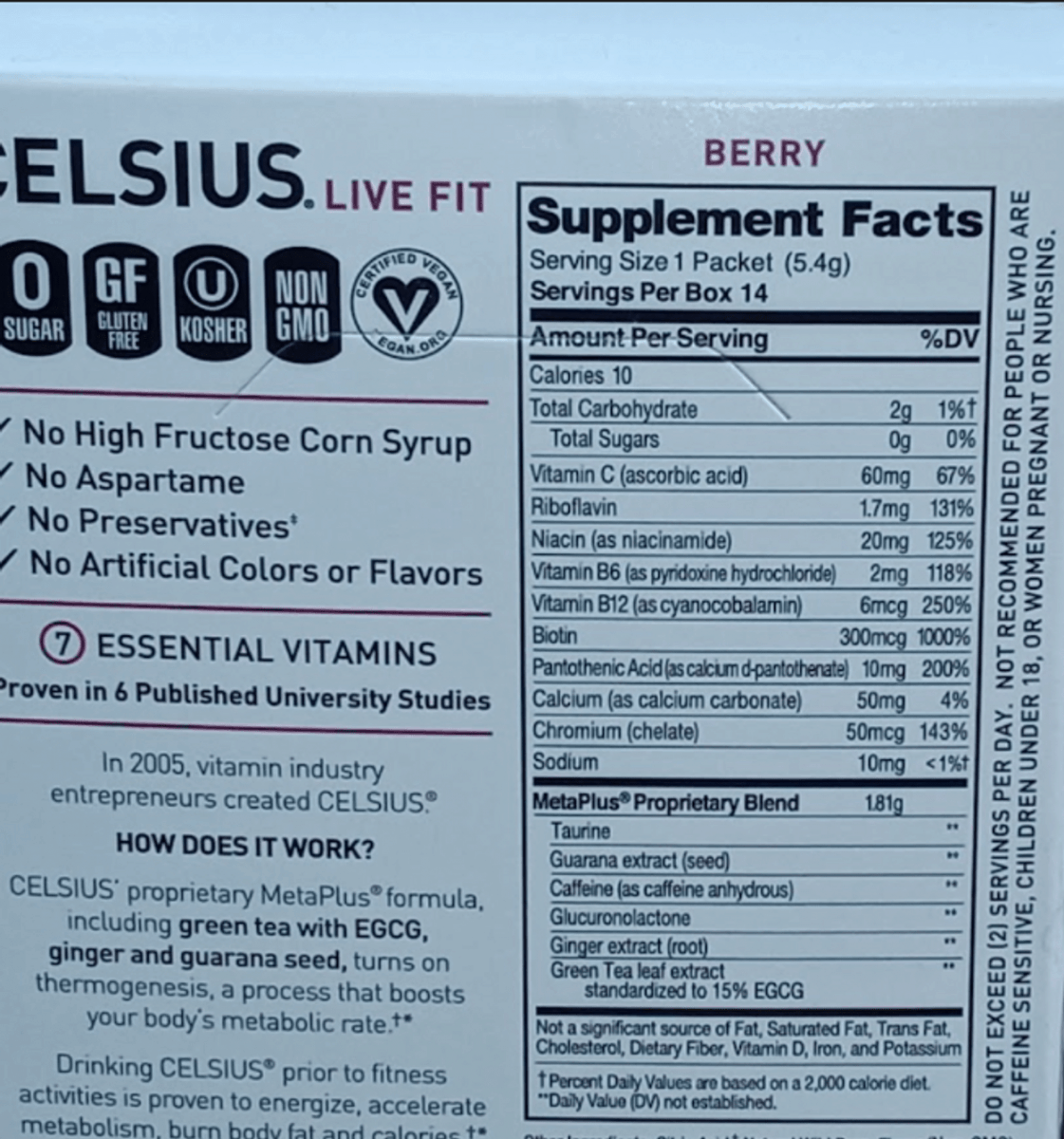 Nutrition facts of Celsius On The Go.