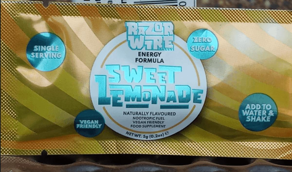 Sweet lemon flavour of Razorwire Energy.