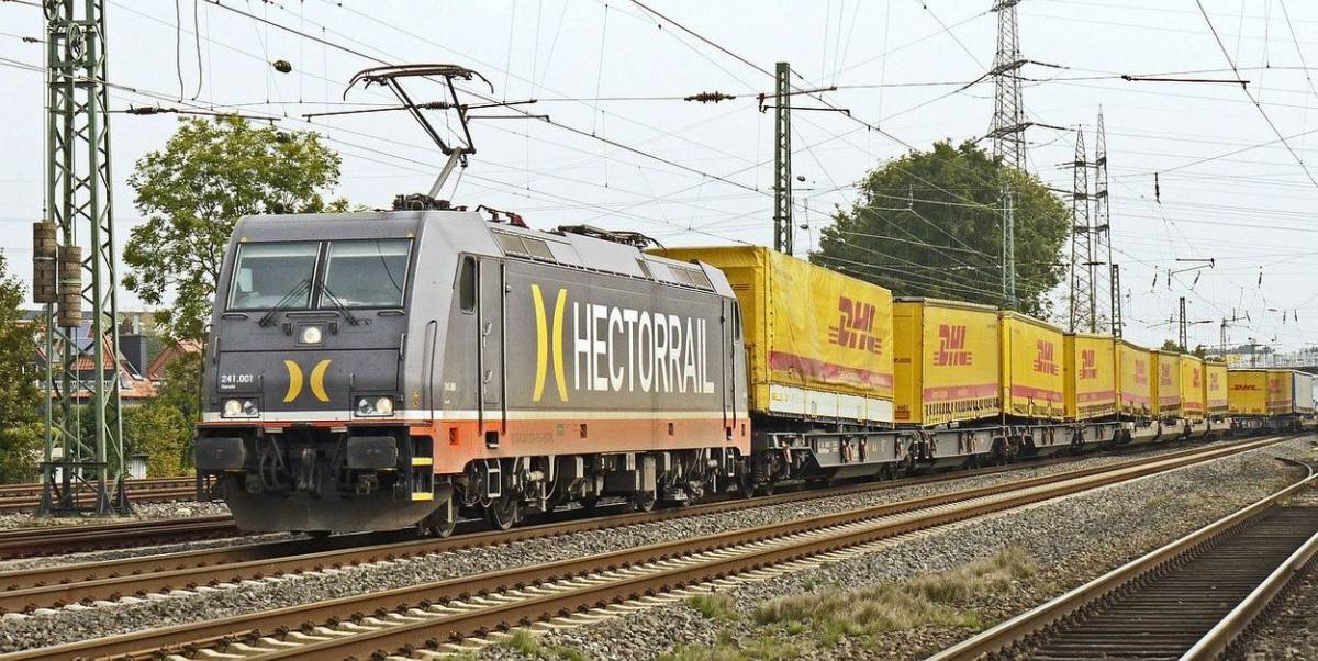 DHL trains carrying goods.
