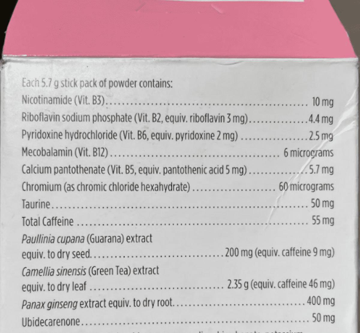 Nutrition facts of Arbonne Fizz Energy.