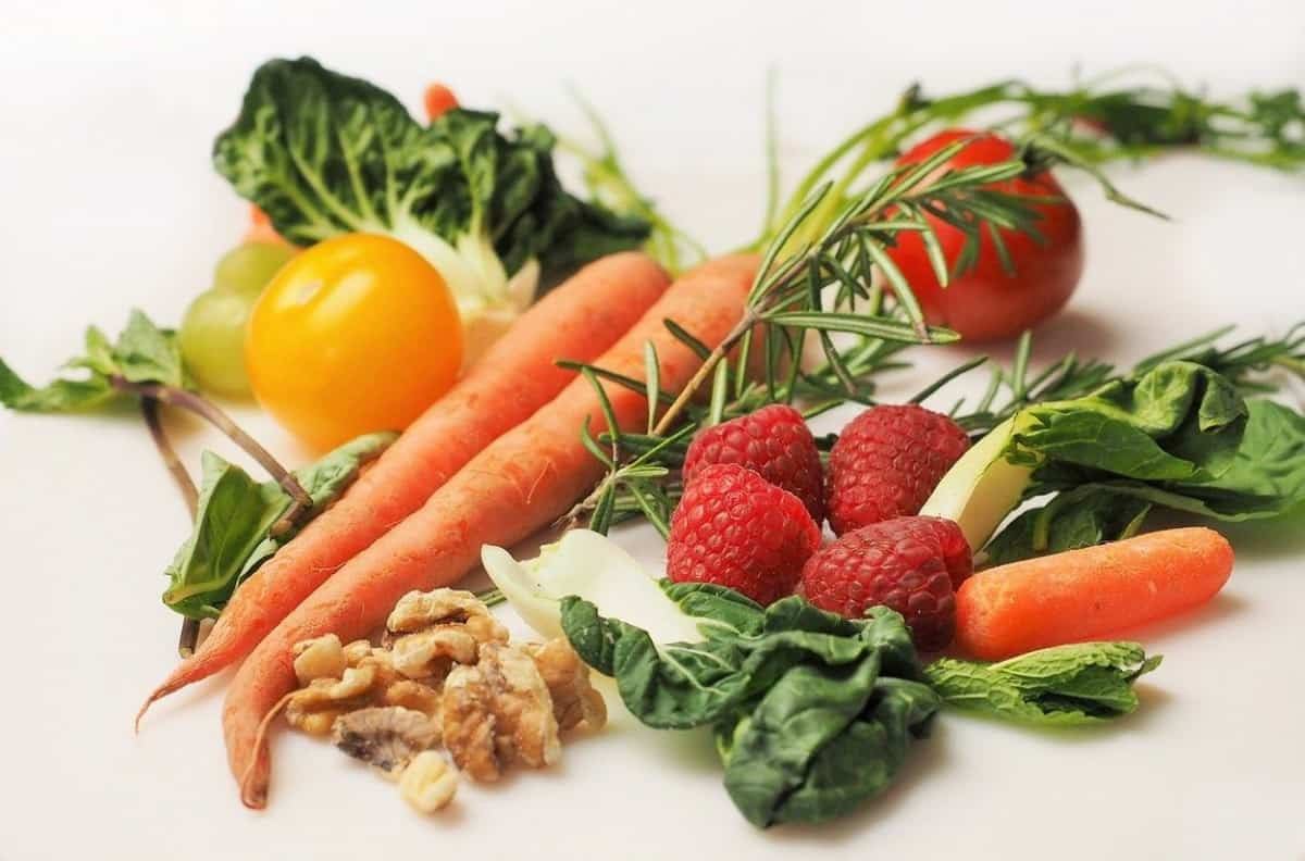 Different types of fruits and veggies.